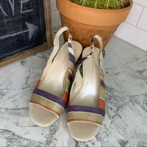 ANNE KLEIN Fortuna Open Toe Slingback Wedge 6.5
